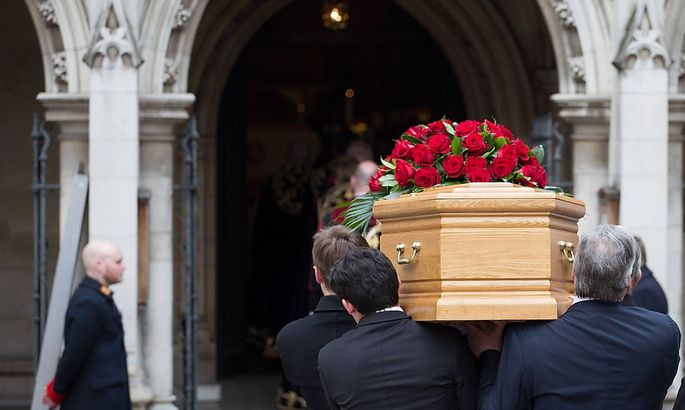 Tony Benn Funeral at St Margaret s Church Tony Benn s coffin is carried into St Margaret s Church