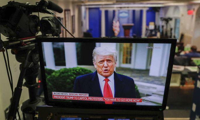 Eine Videobotschaft von Donald Trump an seine Anhänger wurde gelöscht.