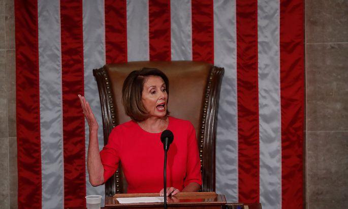 House Speaker-designate Nancy Pelosi (D-CA) addresses the U.S. House of Representatives in Washington
