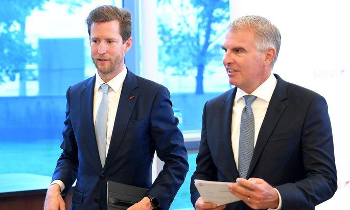 Lufthansa-Chef Carsten Spohr (r.) und AUA-Chef Alexis von Hoensbroech