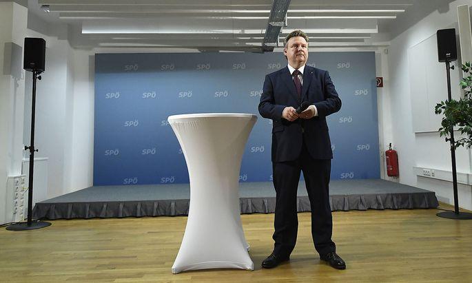 Michael Ludwig trat am Abend des Wahlsonntags vor die Medien