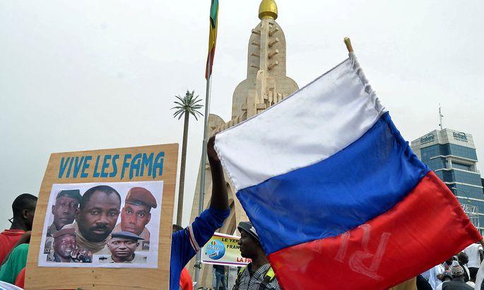 leader Goita during a pro-FAMA demonstration in Bamako