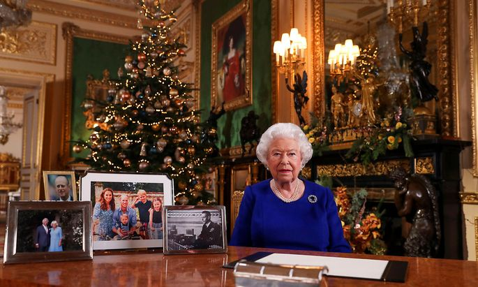 Britain's Queen Elizabeth poses, after recording her annual Christmas Day message in Windsor Castle, in Berkshire