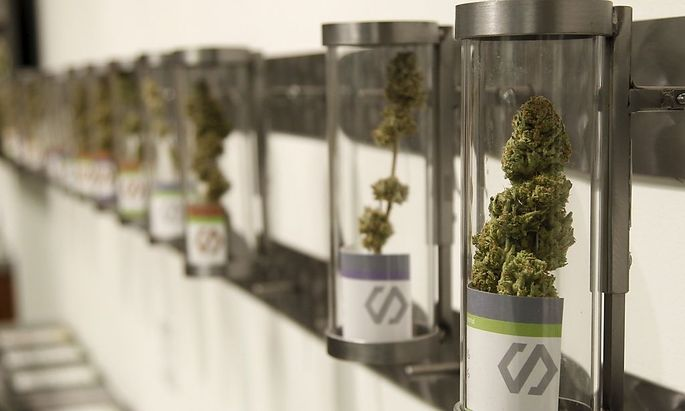 Displays at Shango Cannabis shop on first day of legal recreational marijuana sales beginning at midnight in Portland, Oregon