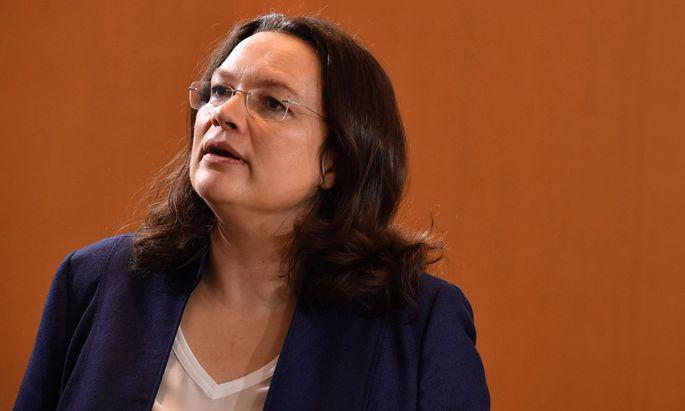 Die deutsche Arbeitsministerin, Andrea Nahles (SPD).