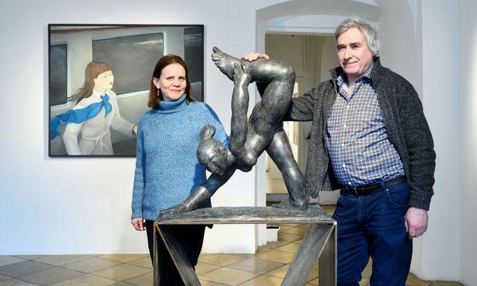 Malerin Brigitte Trieb und Bildhauer Giovanni Rindler in der Galerie Straihammer und Seidenschwann, wo ihre Werke derzeit zu sehen sind.