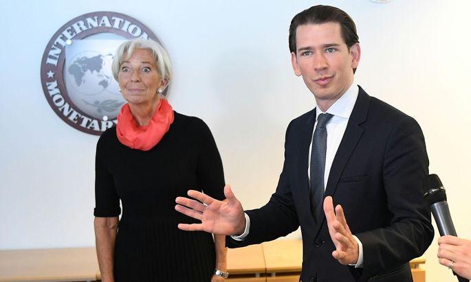IWF-Chefin Christine Lagarde und Bundeskanzler Sebastian Kurz.