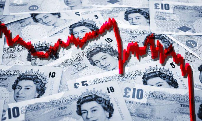 Bilder des Tages Britische Pfundnoten mit sinkender Kurskurve
