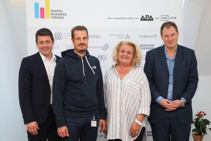 v.l.n.r.: Alexis Johann (Styria Content Creation, FehrAdvice & Partners), Klaus Oberecker (MindTake Research), Barbara Rauchwarter (APA – Austria Presse Agentur) und Gerhard Fehr (FehrAdvice & Partners)