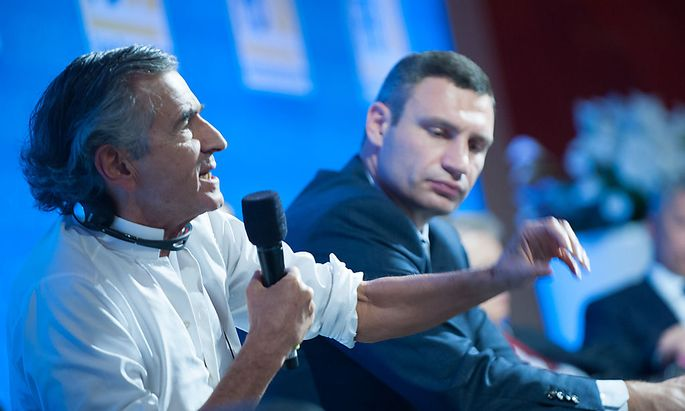 Der französische Philosoph Bernard-Henry Lévy und Kiews Bürgermeister Vitali Klitschko