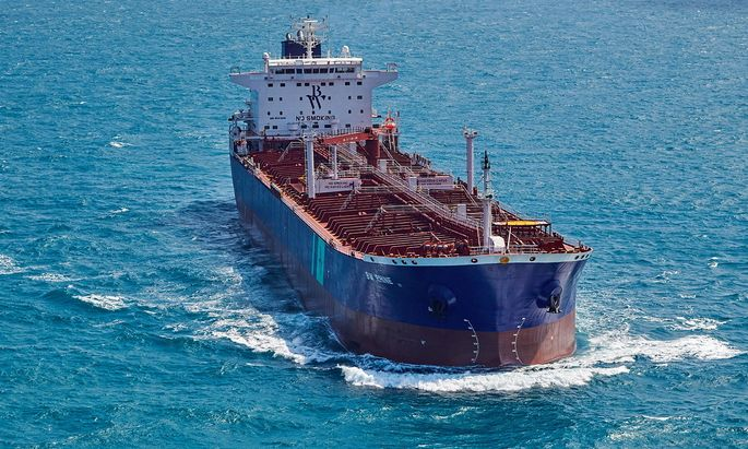 A handout photo shows Oil tanker BW Rhine in the Straits of Singapore