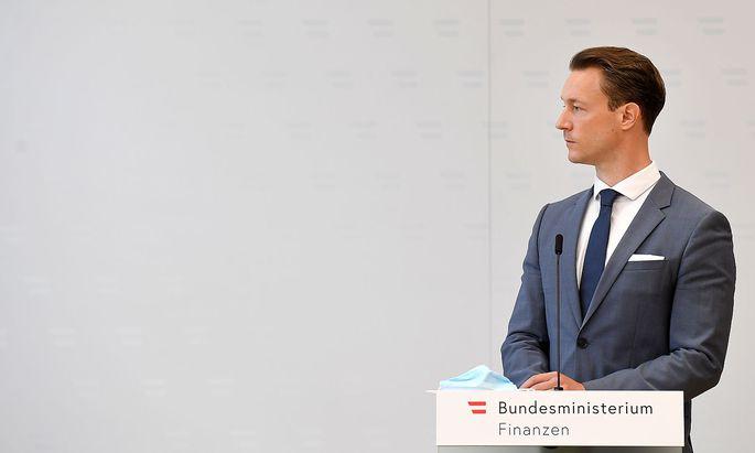 """Archivbild von Finanzminister Blümel. Er erhofft mehr """"Flexibilität"""" der EU-Kommission."""