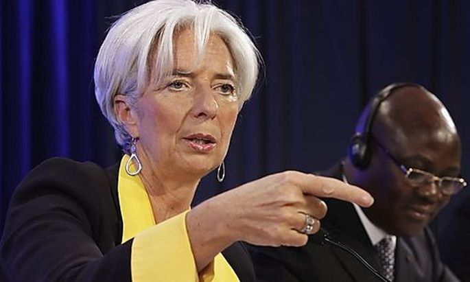 IMF Managing Director Christine Lagarde gestures at a news conference following the ACG meeting in Wa