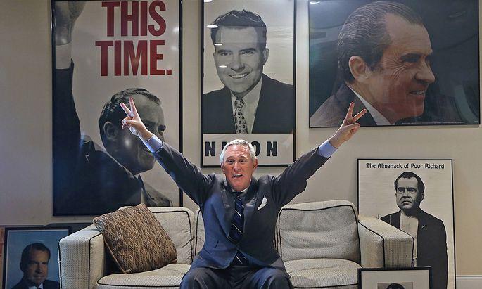 Nixon ist sein Idol: Roger Stone hat sich dessen Konterfei sogar auf den Rücken tätowieren lassen.