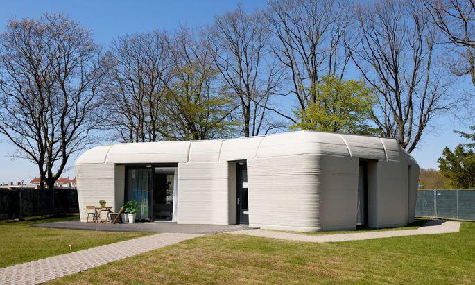 Das mit einem Spezialbeton gedruckte 3-D-Haus in Eindhoven ist seit Mai bewohnt.