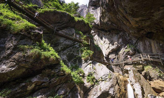 gorge Baerenschuetzklamm, stream, staircase, tourists Pernegg an der Mur Steiermark, Styria Austria Murtal