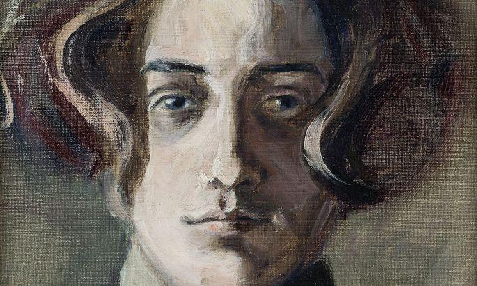 Selbstporträt des jungen Schiele als Dandy mit langem Haar (1907, aus Privatbesitz in Tulln).