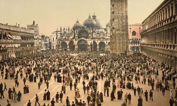Concert, St Marks, Place, Venice, Italy, Photochrome Print, Detroit Publishing Company, 1900