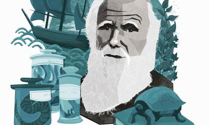 Gezeichnetes Porträt des Naturforschers Charles Darwin