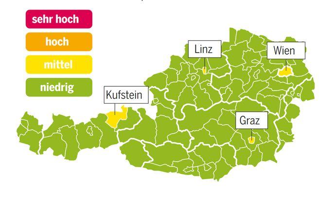 Corona-Ampel für Oesterreich, Stand: 4. September 2020