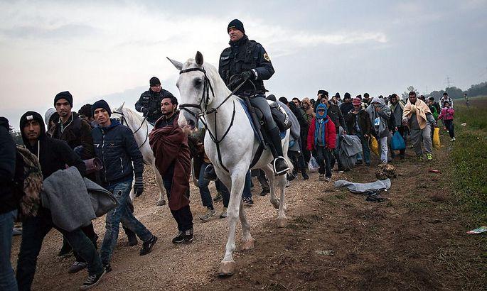 Ein slowenischer Polizist geleitet Flüchtlinge im slowenisch-kroatischen Grenzort Rigonce zu Busse nach Österreich.