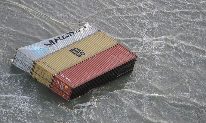 Eine genauer Zahl der verlorenen Container wird erst in den nächsten Tagen feststehen