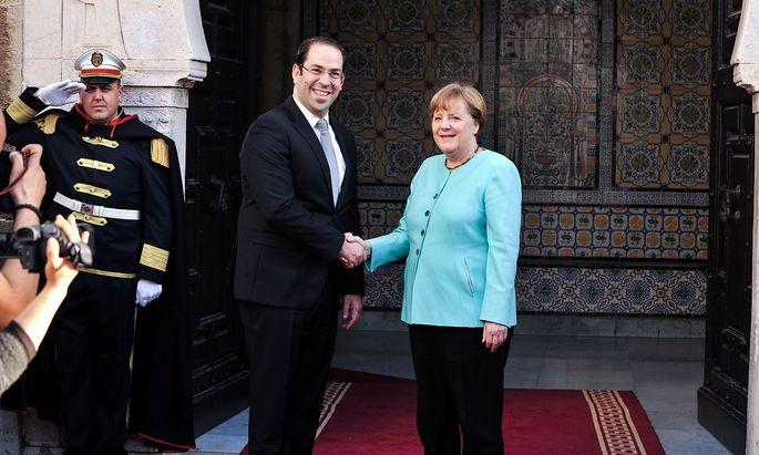 Merkel mit dem tunesischen Präsidenten Essebsi.