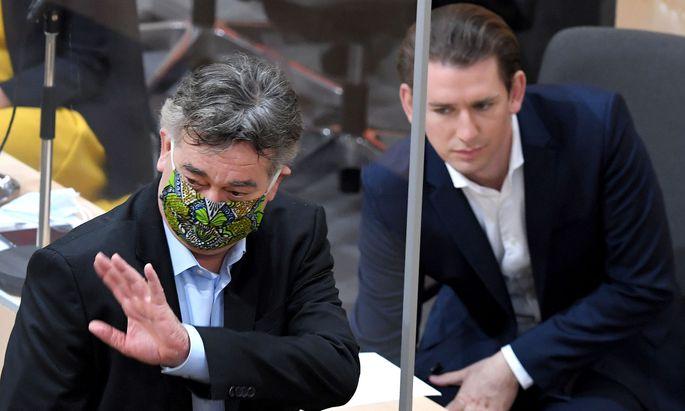 Vizekanzler Werner Kogler (G) und Bundeskanzler Sebastian Kurz (ÖVP)
