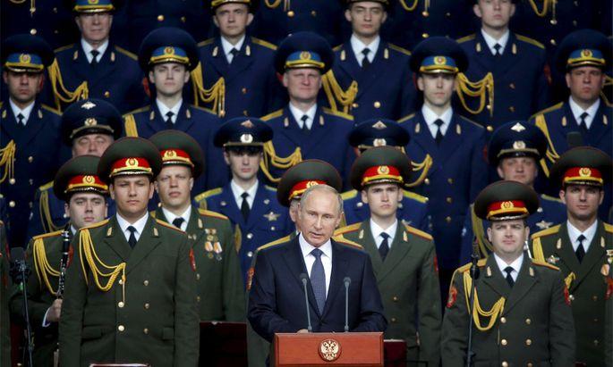 Putin sprach bei der Eröffnung einer Militärmesse.