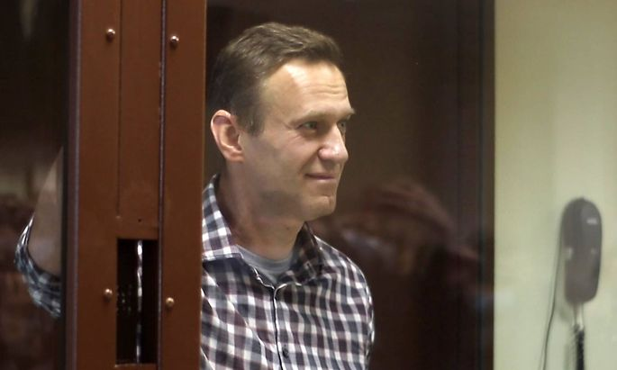 MOSCOW RUSSIA- FEBRUARY 20 2021 Russian opposition activist Alexei Navalny during an offsite hearing of the Moscow