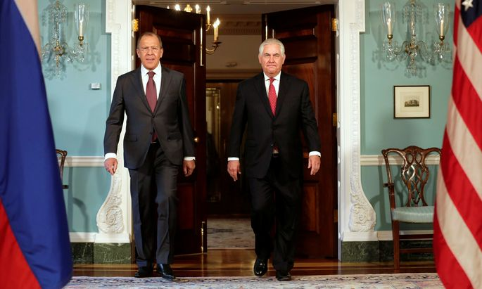 Sergej Lawrow und Rex Tillerson, die Außenminister Russlands und der USA, bei ihrem Treffen in Washington im Mai 2017. Demnächst sollen sie in Wien zusammenkommen.