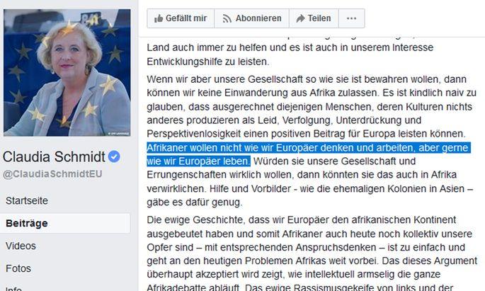 Das Facebook-Posting von Claudia Schmidt