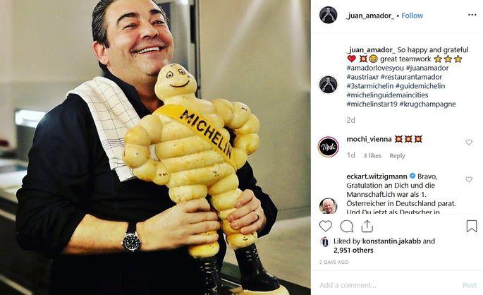 Juan Amador freut sich über senien dritten Michelin-Stern für sein Amador in Wien-Grinzing. Fast 3000 seiner Follower gefällt das.