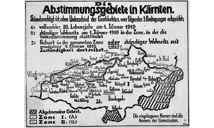 Abstimmungsgebiete für die Volksabstimmung in Kärnten am 10. Oktober 1920.