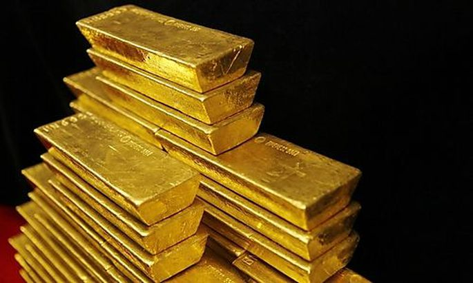 File photo of gold bars are seen in this picture illustration taken at the Czech National Bank in Pra