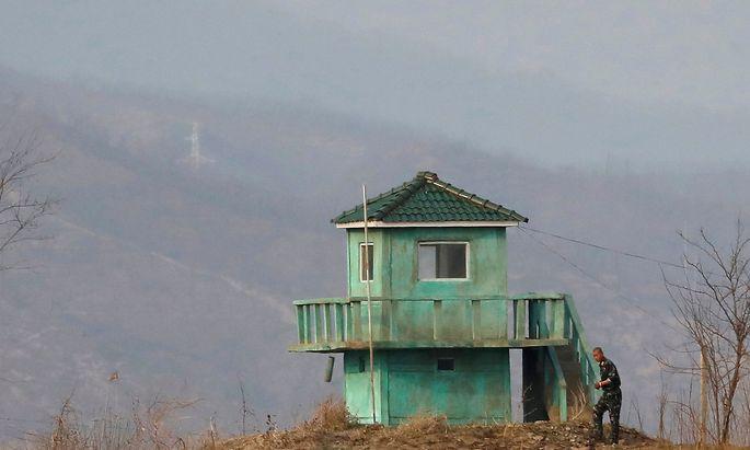 Ein Wachposten an der nordkoreansichen Grenze.