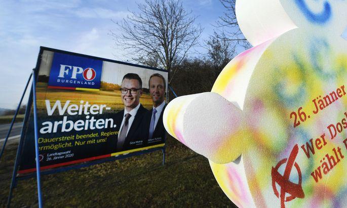 Symbolbild: Wahlwerbung im Burgenland von FPÖ und SPÖ
