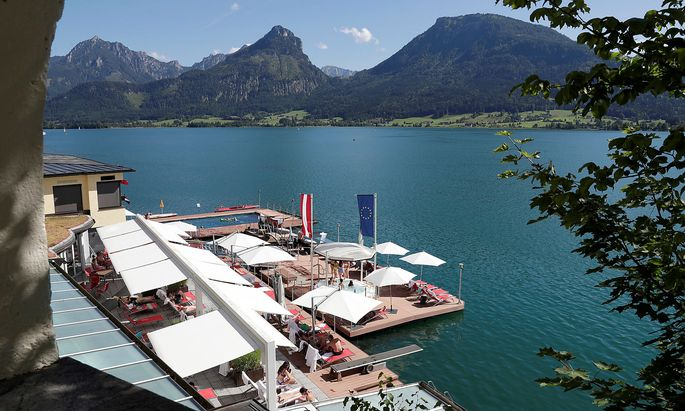 Waterfront along Lake Wolfgangsee is seen in St. Wolfgang