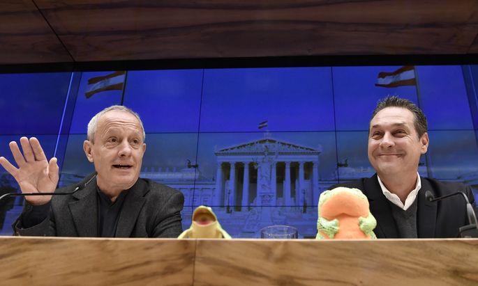 Zwei Männer, zwei Frösche: Peter Pilz (l.), Heinz-Christian Strache und die blau-grün-grüne Koalition.