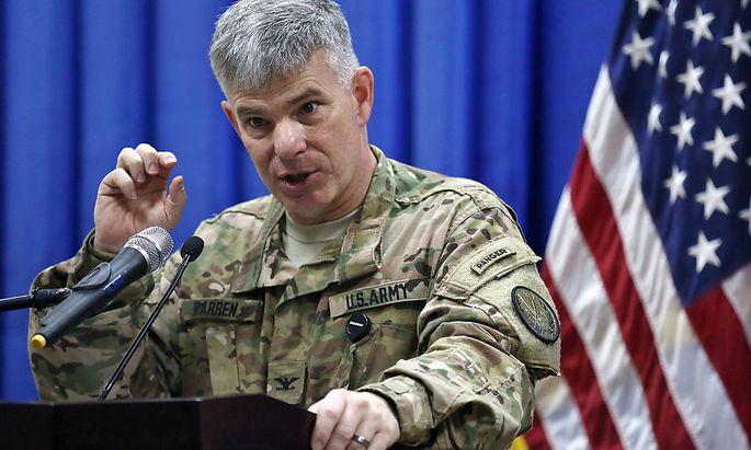 Colonel Steve Warren (hier ein Archivbild), Sprecher der US-Truppen im Irak, verkündet den Tod von Charaffe al-Muadan.