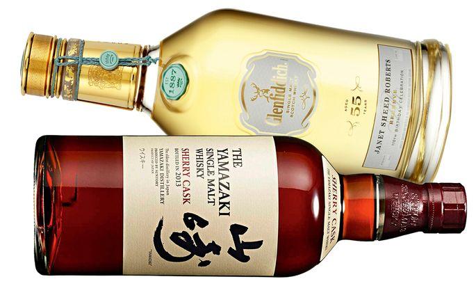 Elf Flaschen eines Glenfiddich von 1955 füllte man zu Ehren der Enkelin des Destilleriegründers ab (oben). Ein Beispiel für sagenhafte Preissteigerung: der Yamazaki Single Malt Sherry Cask (unten).