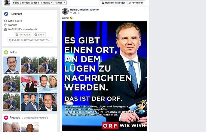 Das Facebook-Posting auf Heinz-Christian Straches privatem Profil.