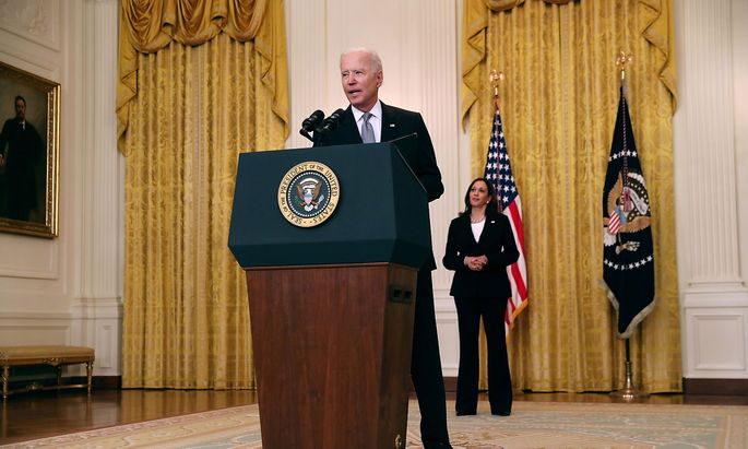 U.S. President Joe Biden delivers remarks from the East Room of the White House in Washington