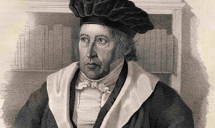 Hegel auf einer Zeichnung.