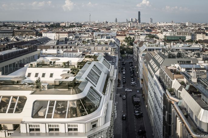 Luxus-Dachgeschoßwohnungen am Werdertor mit Blick über Wien.