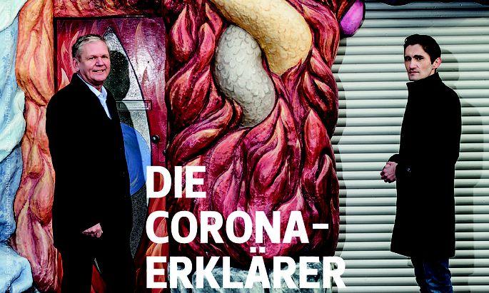 """Am Cover des Branchenblattes: Die """"Corona-Erklärer"""" Köksal Baltaci und Günther Mayr."""
