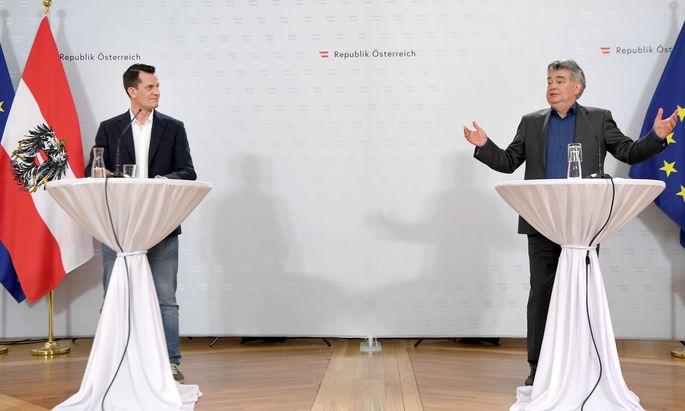 Mediziner Wolfgang Mückstein und Vizekanzler Werner Kogler