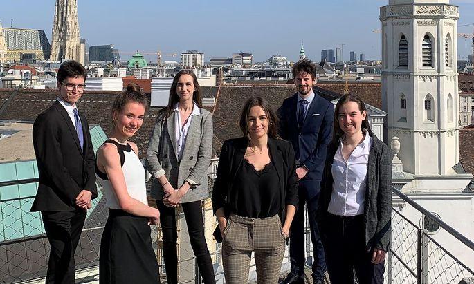 Das Wiener Team (von links nach rechts): Gabriel Wunderlich, Alena Bischinger, Anna Weinzierl, Emily Madl, Jonathan Brunner, Sarah Zedlacher.