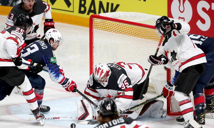 RIGA, LATVIA - JUNE 5, 2021: Owen Power of Canada, Gabriel Vilardi of Canada, Colin Blackwell of the USA, coalie Darcy K