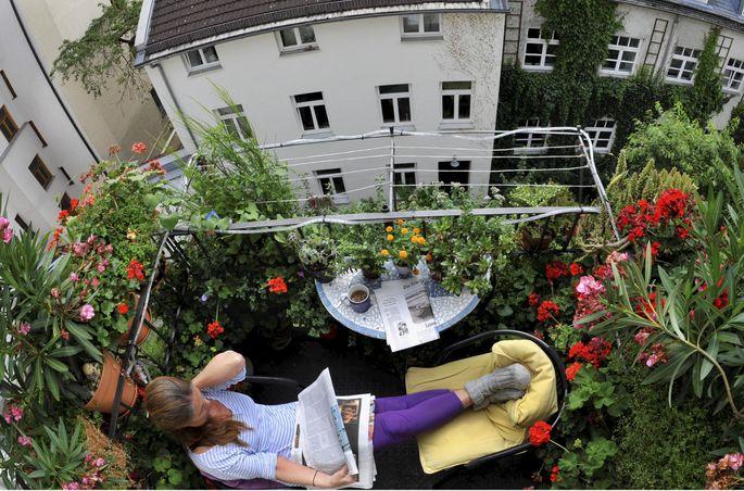 Symbolbild: Eine Frau sitzt auf ihrem Balkon und liest Zeitung zwischen blühenden Blumen.